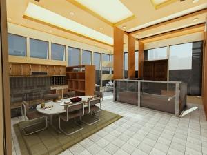 Interior livingroom, kitchen, and dinning room